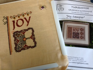 'Joy' is my current rotation. Wool thread on linen.