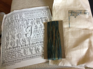 French Alphabet Sampler by Blessings Counted customized for my family. silk on 40 count linen