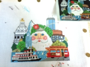 Twin Cities Santa-painted canvas by Shelly Tribby