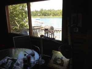 My stitching spot on our screened in porch overlooking tje lake