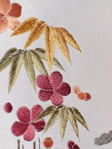 Close up of bamboo and plum blossoms (some of my very first stitches)